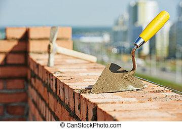 construção, pedreiro, ferramentas