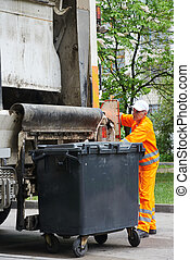 Urban recycling waste and garbage services - Worker of...