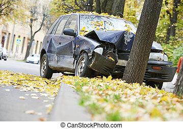 coche, choque, tráfico, accidente