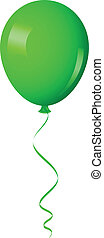 green balloon with ribbon - Vector illustration of green...