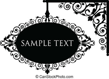 antique signboard - Vector illustration of antique signboard