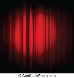 red curtain with projector light