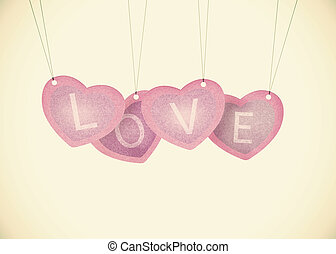 Old Recycle paper Valentine hanging labels.
