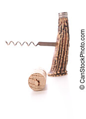 Cork screw on a white background