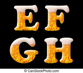 Beer characters on black - Mineral water letter set...