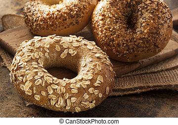 saudável,  bagel, grão, inteiro, orgânica