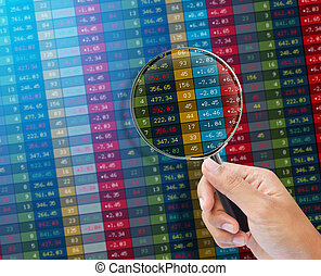 Search of stock market on a monitor Finance data concept