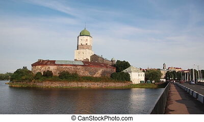 old sweden castle on island in vyborg russia - timelapse