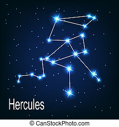 "The constellation ""Hercules"" star in the night sky. Vector..."