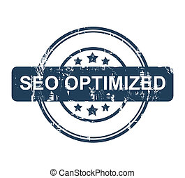 Blue SEO Optimized stamp with stars isolated on a white...