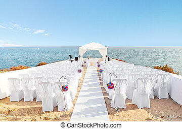Beautiful decorations for the wedding ceremony when On the...