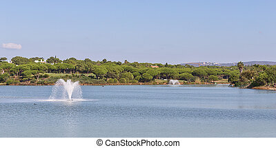 Wonderful panorama the lake and the fountains of the park with palm trees in Portugal.