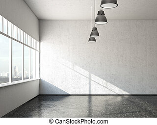 white loft room with windows 3d render