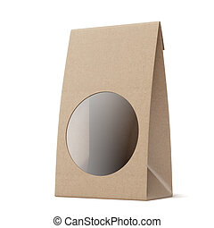 Package with Round Window isolated on a white background. 3d...