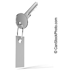 key with tag isolated on a white background 3d render