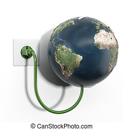 Earth attached to electrical socket isolated on a white...