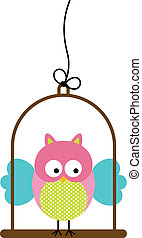Little Owl in Bird Cage - Scalable vectorial image...