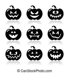 Halloween pumkin vector icons set - Celebrating halloween -...