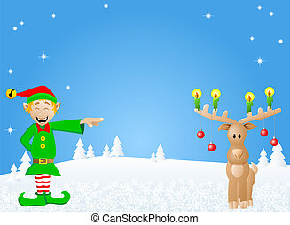 christmas card with elf and reindeer