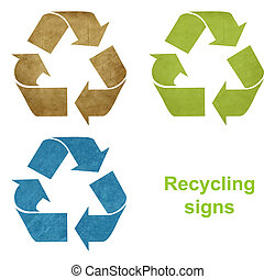 Set of grunge recycling signs