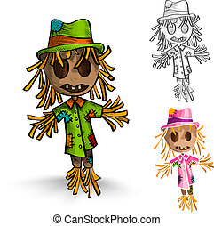 Halloween monsters isolated hand drawn scarecrows set. -...