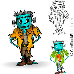 Halloween monsters isolated spooky zombie man set.
