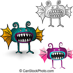 Halloween monsters isolated spooky creatures set.