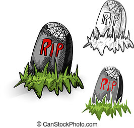 Halloween monsters isolated spooky tombstones set.