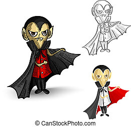 Halloween monsters isolated spooky vampires set.