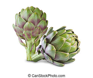 artichoke - Ripe green artichokes isolated on white...