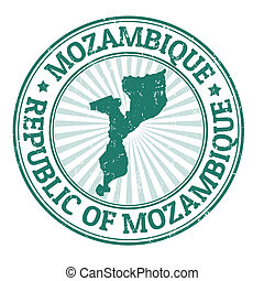Mozambique stamp - Grunge rubber stamp with the name and map...