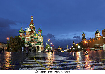 Intercession Cathedral St. Basil's and Kremlin Wall on Red...