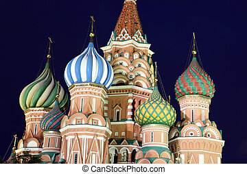 Dome of Intercession Cathedral St. Basil's on Red square in...