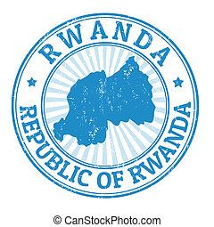 Rwanda stamp - Grunge rubber stamp with the name and map of...