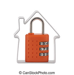 House and combination padlock - House and orange combination...