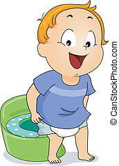 Potty Peeing - Illustration of a Young Boy Peeing on a Potty