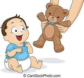 Teddy Bear Boy - Illustration of a Baby Boy Delighted to be...
