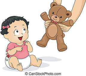 Teddy Bear Girl - Illustration of a Baby Girl Delighted to...