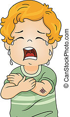 Wounded Boy - Illustration of a Boy Crying Out Loud Because...