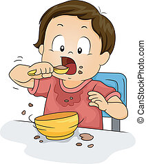 Boy Eating - Illustration of a Young Boy Making a Mess While...