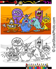 cartoon monsters group coloring page - Coloring Book or Page...
