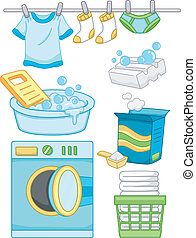 Laundry Elements - Illustration Featuring Ready to Print...