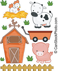 Farm Elements - Illustration of Ready to Print Farm-Related...