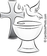 Black and White Baptism - Black and White Illustration of a...