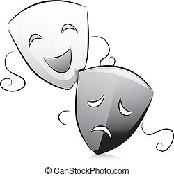 Black and White Drama Masks - Black and White Illustration...