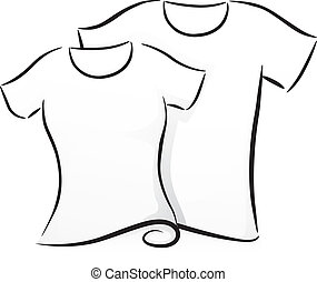 Black and White Shirts - Black and White Illustration of a...