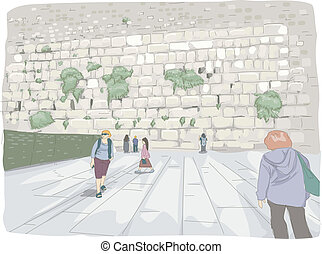 Wailing Wall - Illustration Featuring Tourists Roaming...