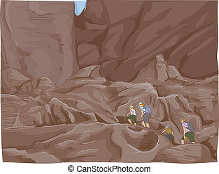 Petra Ruins Climb - Illustration Featuring a Family Climbing...