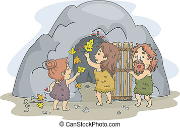 Caveman Family Art - Illustration of a Caveman Family...