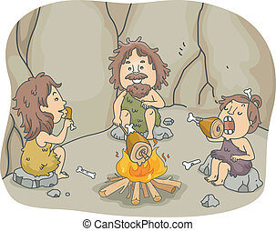 Caveman Family Meal - Illustration of a Caveman Family...